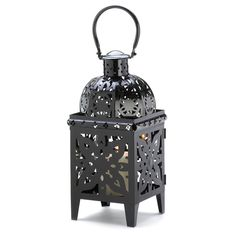 An ornate metal candle cage makes a stately statement, lavished in high gloss midnight-black finish for a perfect fusion of form and fascination that will uplift your indoor and outdoor decorative motif.