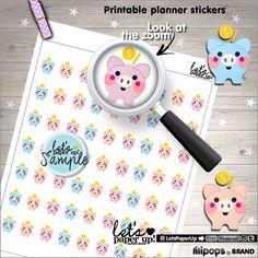 ★New listing! Saving printable stickers - Moneybox stickers - Kawaii stickers - Planner stickers