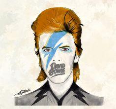 David Bowie Orange Drawing by Michael Spatola