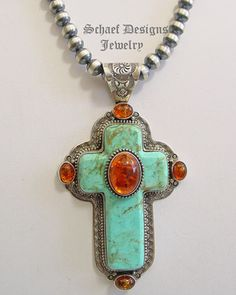 David Troutman Jewelry | Kingman Turquoise & Amber hand stamped sterling silver southwestern cross pendant | Schaef Designs artisan handcrafted Southwestern & turquoise Jewelry | New Mexico