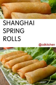 Shanghai Spring Rolls - Making Spring Rolls Is As Fun As It Is Delicious. Prepared Bite-Sized Wraps Stuffed With Bean Sprouts, Shrimp Or Chicken, And Carrots Are Oh-So-Good, Especially Dipped In Homemade Ginger Soy Dim Sum Sauce. Homemade Spring Rolls, Baked Spring Rolls, Shrimp Spring Rolls, Vegetable Spring Rolls, Chicken Spring Rolls, Cold Appetizers, Appetizer Recipes, Dinner Recipes, Christmas Appetizers