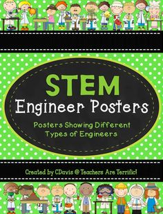 A great way to help your STEM students understand the many fields of engineering that exist! This set of posters features 20 different engineer fields with meanings and job descriptions. There are TWO sets of posters with different backgrounds and frames! 6th Grade Science, Stem Science, Elementary Science, Science Ideas, Science Classroom, Teaching Science, Stem Students, Engineering Design Process, Steam Education