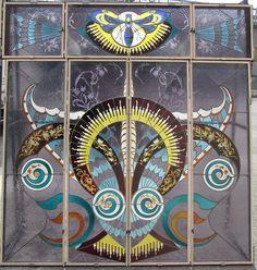 CARLO BUGATTI Art Nouveau stained glass windows removed from the Villa di Lodi.