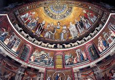 Apse mosaics of Santa Maria in Trastevere. People (and sheep) in a line. Photo by Geoffrey Dunn