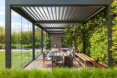Louvered Roof Canopies & Pergolas with a Remote Controlled Roof - Lanai Outdoor Diy Pergola, Pergola Design, Garage Pergola, Steel Pergola, Outdoor Pergola, Backyard Pergola, Outdoor Rooms, Outdoor Living, Pergola Ideas
