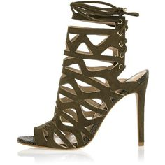 River Island Khaki suede caged sandals ($120) ❤ liked on Polyvore featuring shoes, sandals, heels, heeled sandals, khaki, shoes / boots, women, lace up sandals, caged sandals and lace up heel sandals