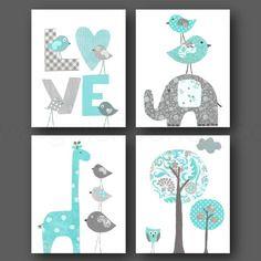 Lot de 4 illustrations pour chambre d'enfant et bebe, bleu turquoise gris