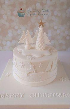 Tonal Christmas Cake - Cake by The Clever Little Cupcake Company (Amanda Mumbray) Christmas Cake Designs, Christmas Cake Decorations, Christmas Cupcakes, Christmas Sweets, Holiday Cakes, Christmas Cooking, White Christmas, Xmas Cakes, Christmas Writing
