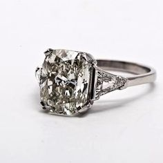 Engagement Rings Cushion Cut Diamond- My Dream Ring, hands down! I love simple vintage cushion cut rings! Men's Jewelry, Modern Jewelry, Fine Jewelry, Jewellery Box, Jewellery Shops, Cushion Cut Engagement Ring, Platinum Engagement Rings, Solitaire Engagement, Engagement Bands