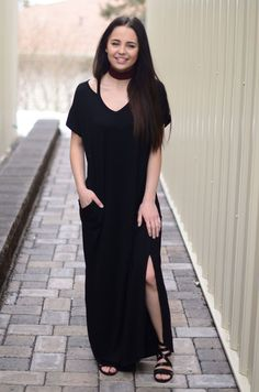 We love maxi dresses and are so excited for warm weather! This maxi is super soft and flowy! You can tie it up at the bottom for a new look or wear it down with a cute pair of booties or heels! The cu