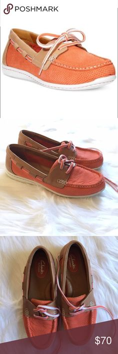 Clarks Artisan Jocolin Vista Coral Boat Shoes •Clarks Artisan Jocolin Vista Coral Perforated Boat Shoes •Women's Size 7 •In excellent used condition with minimal sign of wear •Cushioned insoles, very comfortable •Laces •Light brown leather with orange/ coral colored perforated fabric Clarks Shoes Flats & Loafers