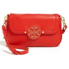 Tory Burch 'Amanda' Crossbody Bag Tory Red. An essential crossbody cut from pebbled leather handles everyday wear with posh poise. Easily transi......[$235.00]