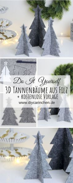 DIY – Tannenbaum aus Filz einfach selber machen + gratis Vorlage: DIY, Bastel… – Keep up with the times. Diy 3d Christmas Tree, Clay Christmas Decorations, Noel Christmas, Christmas Crafts, Xmas, Halloween Crafts, Decoracion Navidad Diy, Felt Tree, Diy Crafts To Do