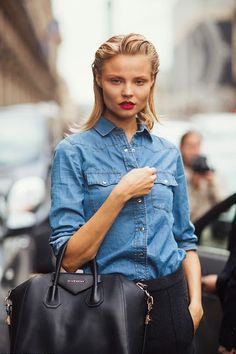 Models love denim shirts - Magdalena Frackowiak #MagdalenaFrackowiak #denim #thingsmodelslove #modelslove #model #modeling #beautiful #gorgeous #fashion #style #stylish #trend #trendy #offduty #streetstyle #modelshavemorefun  #inspiration #blonde #brunette #redhead #fun #friends #family #love #adorable #fashionmodel #topmodel #summerlovin #funinthesun #hair #makeup #smokeyeyes #DIY #runway #cover #magazine #photoshoot #instagram #newyork #nyc #glamorous
