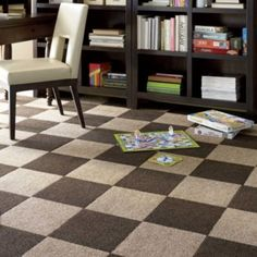 Peel & Stick Carpet Tiles-Residential Carpet Squares-Berber Carpet. A whole lot cheaper than buying a rug!! Can't forget this