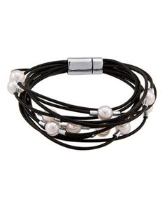 Organic Man-Made Pearl and Leather Cord find glass pearls at http://www.ecrafty.com/c-595-glass-pearls.aspx