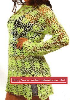explicacion de Blusas Crochet verano verde