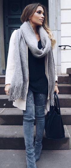 #preppy #fashion /  Grey Scarf // White Coat // Black Top // Grey Skinny Jeans // Dark Velvet OTK Boots