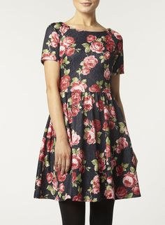 Black Floral Textured Dress