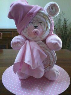 sleepy bear nappy cake