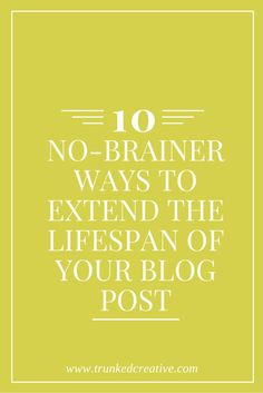 10 No-Brainer Ways to Extend the Lifespan of Your Blog Post! From http://trunkedcreative.com