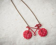 Long necklace with sweet wire & buttons bicycle by SilviaWithLove