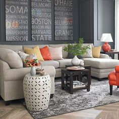 HGTV Home Custom Upholstery U-Shaped Sectional by Bassett Furniture contemporary living room Home Living Room, Living Room Furniture, Living Room Designs, Living Room Decor, Living Spaces, Modern Furniture, Hudson Furniture, U Shaped Sectional Sofa, Dining Room