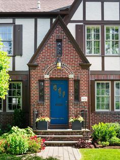 [Blue Grotto -HGTV Magazine took a spin through Providence to round up eye-catching houses loaded with inspiring ideas. Exterior Door Colors, Front Door Paint Colors, Painted Front Doors, Exterior Doors, Exterior Paint, Tudor House Exterior, House Exteriors, Tudor Kitchen, Craftsman Kitchen