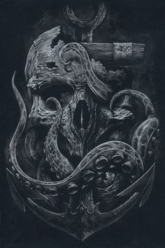 THE LOCKER Custom Print Octopus Skull Anchor Black by grabinkART on Inspirationde