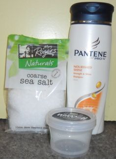 How to get your hair really shiny. Course sea salt and your favorite shampoo, thats it! Mix 5 part course sea salt and 4 part shampoo. For anyone who wants shiny hair, I recommend this!!! need to try...