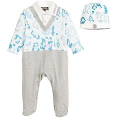 Boys babygrow and hat boxed gift set by Roberto Cavalli. Made in soft cotton jersey, with a splashed-paint effect pattern, the romper has a layered shirt, sweater and trouser effect. The ivory 'shirt' has a logo embroidered collar and a silver popper fastener. There is a grey V-neck shaped neckline matching grey 'trousers', which have poppers between the legs for easy dressing and nappy changes. A matching hat is included, with the designer's logo embroidered on the brim.