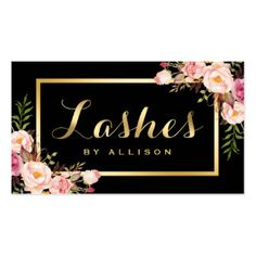 Lashes Script Modern Makeup Black Gold Floral Pack Of Standard Business Cards