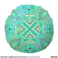 Beautiful complicated cyan moroccan ornament. round pillow  Moroccan ornament make interior unique and add aesthetics sense. Ornament create in oriental tradition. #Home #decor #Room #accessories #Interior #decorating #Idea #Styles #abstract