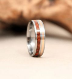 Gold Wooden Ring With Amboyna Burl and Titanium