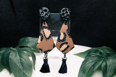 Polymer Clay Earrings - Leopard Print design with mini black tassels and mini black textured stud Look After Yourself, Polymer Clay Earrings, Print Design, Miniatures, Stud Earrings, Texture, Gifts, Etsy, Black