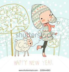 Cute girl with a sheep on winter background and Happy new year. Christmas card.