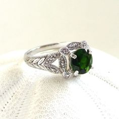 Russian Chrome Diopside Ring .925 Sterling Edwardian Style Ring, Emerald Green Chrome Diopside Gemstone Ring, Untreated Gemstone, Katya. $200.00, via Etsy.
