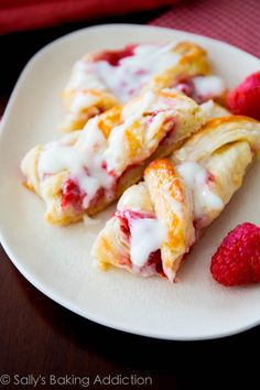 Iced Raspberry Danish Braid - with homemade pastry using the quick method | sallysbakingaddiction.com