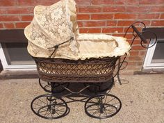 VINTAGE Baby Carriage Doll Stroller Toy ,Wood and Metal MADE IN GERMANY ''GTC''