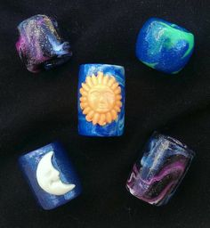 Check out this item in my Etsy shop https://www.etsy.com/listing/126929626/cosmic-dread-bead-set-glowing-sun-moon