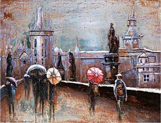 """Metalen schilderij """"Wandeling met de paraplu"""", met afgebeeld personen die een wandeling maken door de stad met de paraplu, is een 3D-schilderij: een kunstwerk gemaakt van metaal waarbij de ijzeren delen geverfd zijn, speels naar voren komen en dus diepte hebben.   Elk metalen schilderij wordt geleverd met achterop twee gemonteerde ophangbeugels. Renaissance, Painting, Products, Painting Art, Paintings, Painted Canvas, Gadget, Drawings"""