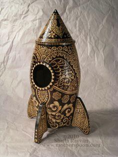 MotherSpoon's Woodburned Rocket Birdhouse