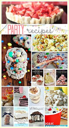 Tons of fun, colorful and yummy Party Recipes... Use them for birthday parties, Holidays and fun surprises. Love it! #recipes