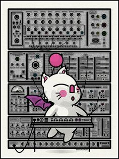 Moogle and a Moog print found at Pitchfork. All the knobs are labeled with Final Fantasy references.