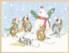 House Mouse Christmas Rubber Stamps
