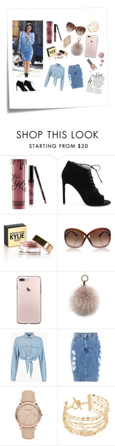 """""""Kylie goes Denim"""" by princessm2004 ❤ liked on Polyvore featuring Post-It, Kylie Cosmetics, Yves Saint Laurent, Tom Ford, Oscar de la Renta, Boohoo, Moschino, Burberry, Kate Spade and Whiteley"""