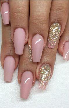Lovely 55 glitter gel nail designs for short nails for spring 2019 15 Glitter Gel Nails, Cute Acrylic Nails, Glitter Art, Acrylic Gel, Cute Nail Designs, Acrylic Nail Designs, Hot Nails, Pink Nails, Matte Nails