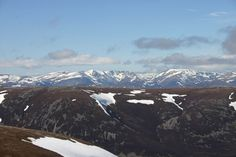 View over the Cairngorms from An Socach in April 2015 - we had a fabulous walk with spectacular views over The Cairngorms Scottish Mountains, Cairngorms National Park, Wonderful Places, Climbing, Scotland, National Parks, Walking, Travel, Beautiful