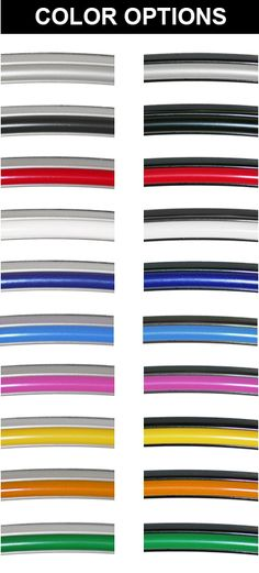 Rimpro-tec colours.  Base is in Black or silver with all the coloured inners shown here.