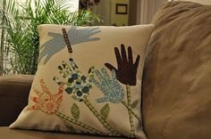 Hand Print Flower and Butterfly Pillow DIY - perfect gift for Grandmother